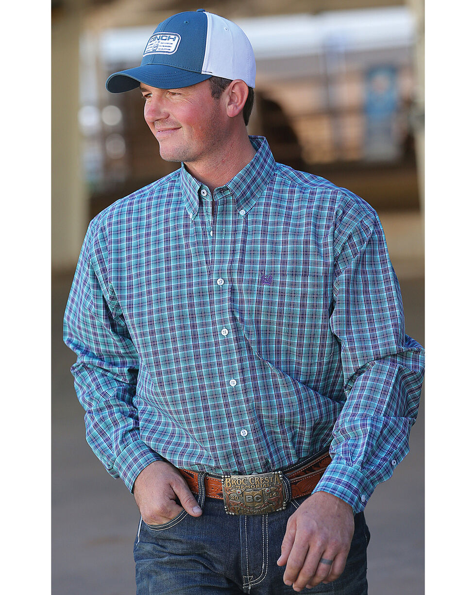 Cinch Men's Turquoise Plaid Long Sleeve Button Down Shirt, Turquoise, hi-res