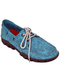 Ferrini Women's Turquoise Loafer Shoes - Moc Toe, Turquoise, hi-res