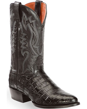 Dan Post Men's Everglades Black Belly Caiman Cowboy Boots - Round Toe, Black, hi-res