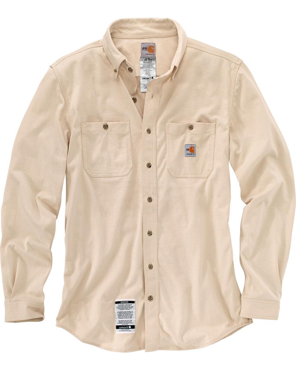 Carhartt Men's Sand Flame-Resistant Force Cotton Hybrid Shirt , Sand, hi-res