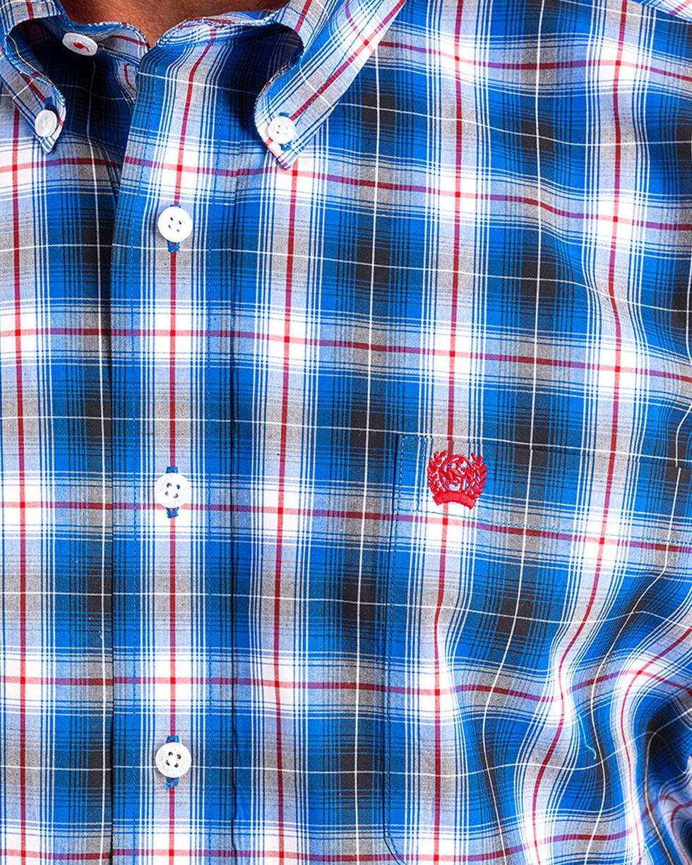 Cinch Men's Blue Plaid Long Sleeve Button Down Shirt, Blue, hi-res