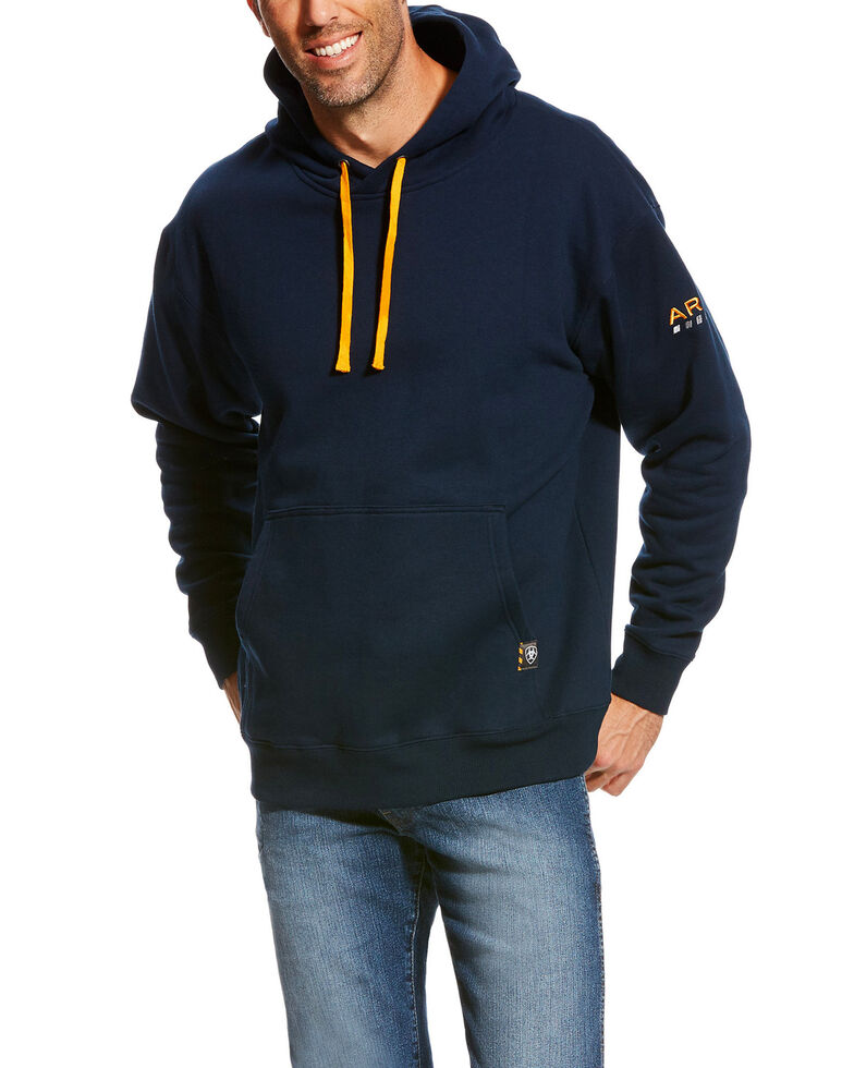 Ariat Men's Rebar Navy Logo Hooded Sweatshirt - Big & Tall, Navy, hi-res