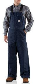 Carhartt Men's Flame-Resistant Midweight Quilt-Lined Bib Overalls - Big & Tall, Navy, hi-res