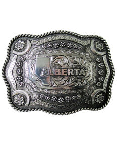 And West Roped Edge Alberta Buckle, Gold, hi-res