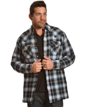 Ely Cattleman Men's Blue Quilted Flannel Shirt Jacket - Tall , Blue, hi-res
