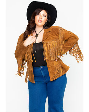 Liberty Wear Women's Suede Fringe Jacket, Brown, hi-res
