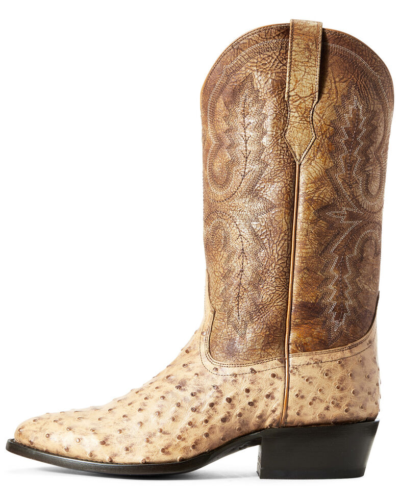 Ariat Men's Circuit Light Full Quill Ostrich Western Boots - Round Toe, Brown, hi-res