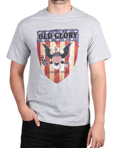 Fencepost Men's Old Glory T-Shirt, Heather Grey, hi-res