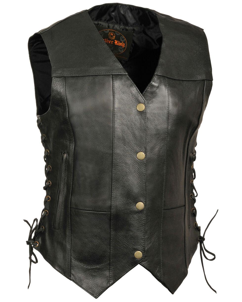 Milwaukee Leather Women's 6 Pocket Side Lace Vest - 4X, Black, hi-res