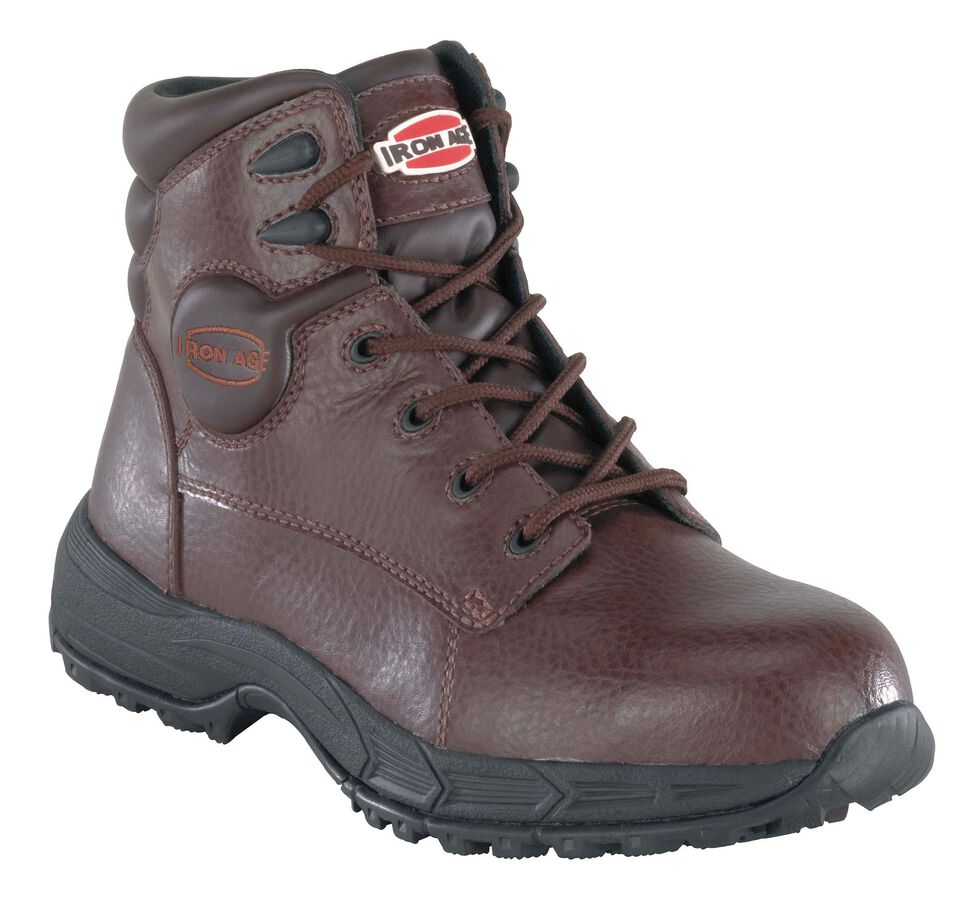 Iron Age Men's Ground Finish Steel Toe Work Boots, Brown, hi-res