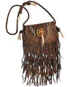 Kobler Leather Rossette Fringe Crossbody Bag, Tan, hi-res