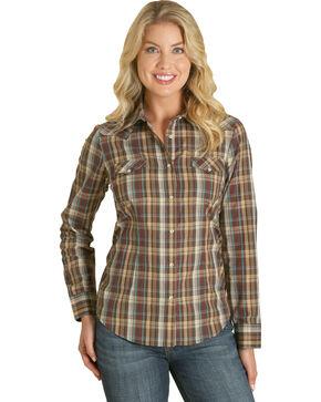 Wrangler Women's Brown Plaid Western Shirt , Natural, hi-res