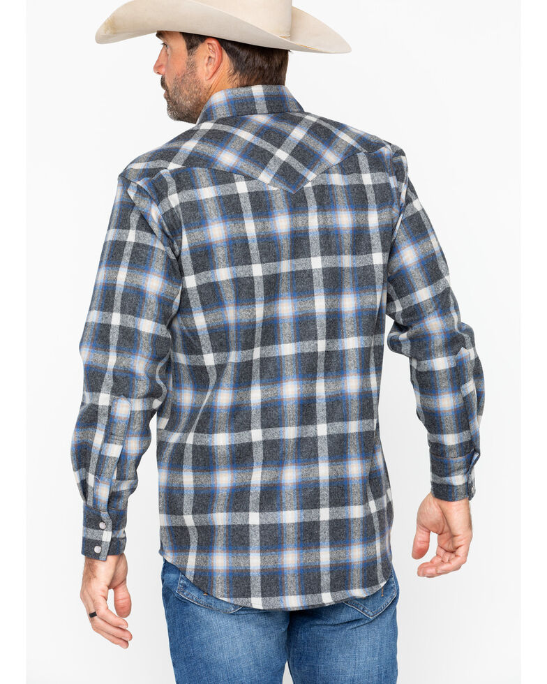 466ee40c6a76c Zoomed Image Pendleton Men's Western Wear Wool Canyon Flannel Shirt , Blue,  hi-res