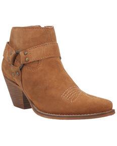 Dingo Women's Brown Buckskin Leather Western Fashion Bootie - Snip Toe , Brown, hi-res