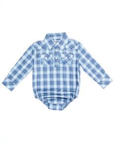 Wrangler Infant Boys' Blue & Purple Plaid Long Sleeve Snap Western Onesie , Multi, hi-res