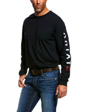 Ariat Men's FR Roughneck Skull Logo Crew Long Sleeve Work Tee - Tall , Black, hi-res