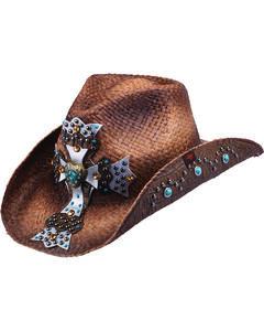 Peter Grimm Mischa Embellished Cross Straw Cowgirl Hat, Brown, hi-res