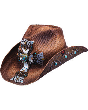 Peter Grimm Mischa Embellished Cross Straw Cowgirl Hat, Brown, hi-res