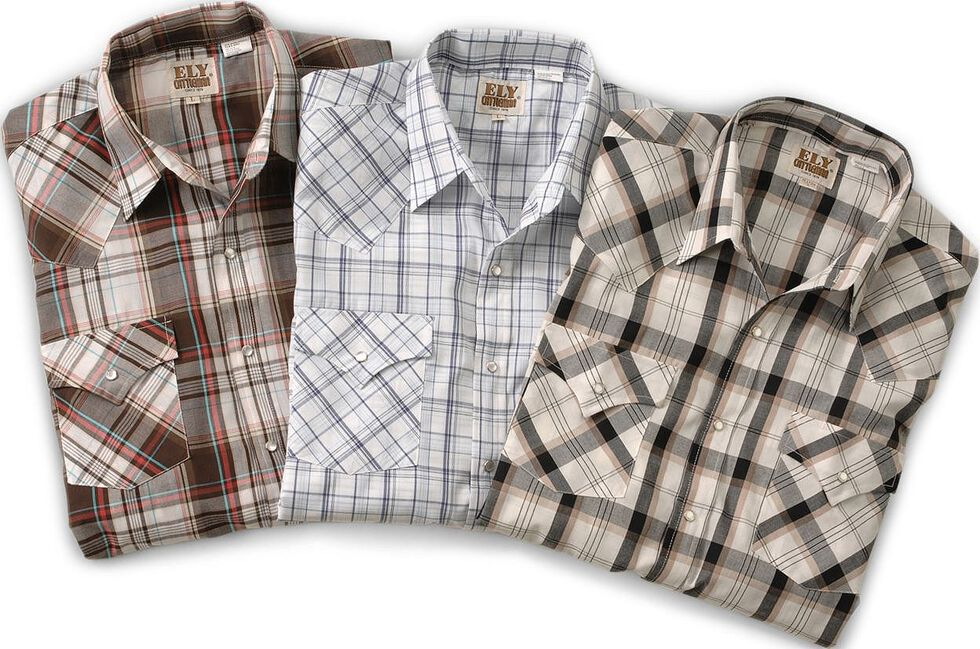 Ely Cattleman Men's Assorted Plaid & Stripe Long Sleeve Western Shirts - Big & Tall, Plaid, hi-res
