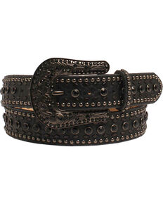 Nocona Women's Rhinestone Floral Black Tooled Leather Belt, Black, hi-res
