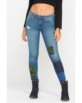 MM Vintage Women's Camo Patch Jeans - Skinny , Indigo, hi-res