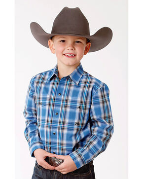 Roper Boys' Blue Plaid Western Shirt , Blue, hi-res