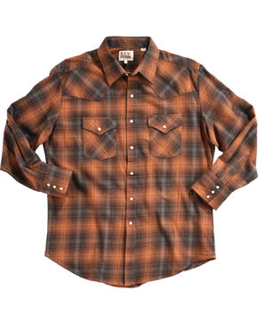 Ely Cattleman Men's Copper Brawny Flannel Shirt - Tall , Rust Copper, hi-res