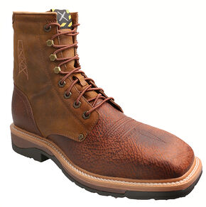 """Twisted X 8"""" Lite Cowboy Work Lace-Up Boots - Steel Toe, Peanut, hi-res"""
