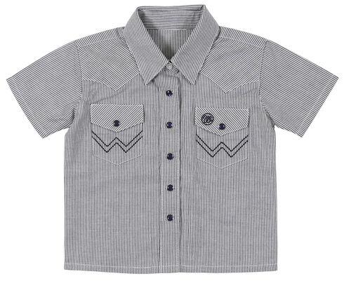 Wrangler Infant Boys' Blue Western Yoke Snap Short Sleeve Shirt, Blue, hi-res