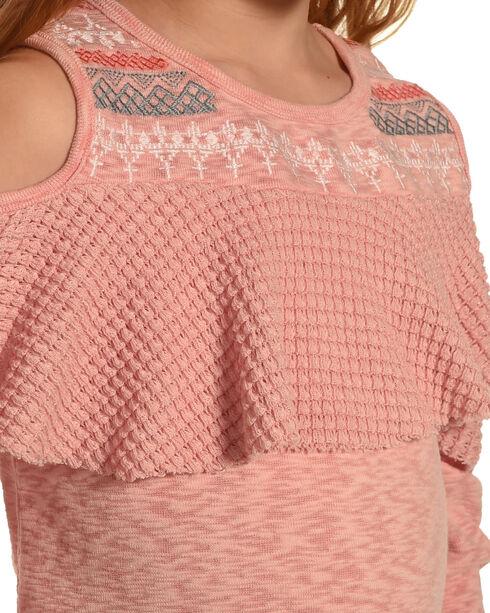 Miss Me Girls' Pink Tier To Stay Cold Shoulder Top , Pink, hi-res