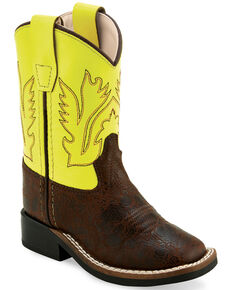 Old West Toddler Boys' Yellow Western Boots - Wide Square Toe, Brown, hi-res