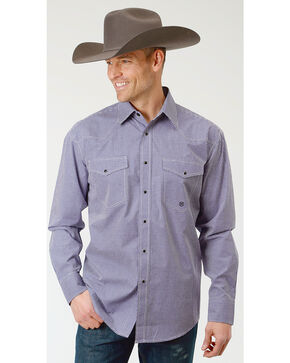 Roper Men's Gingham Check Long Sleeve Snap Shirt , Purple, hi-res