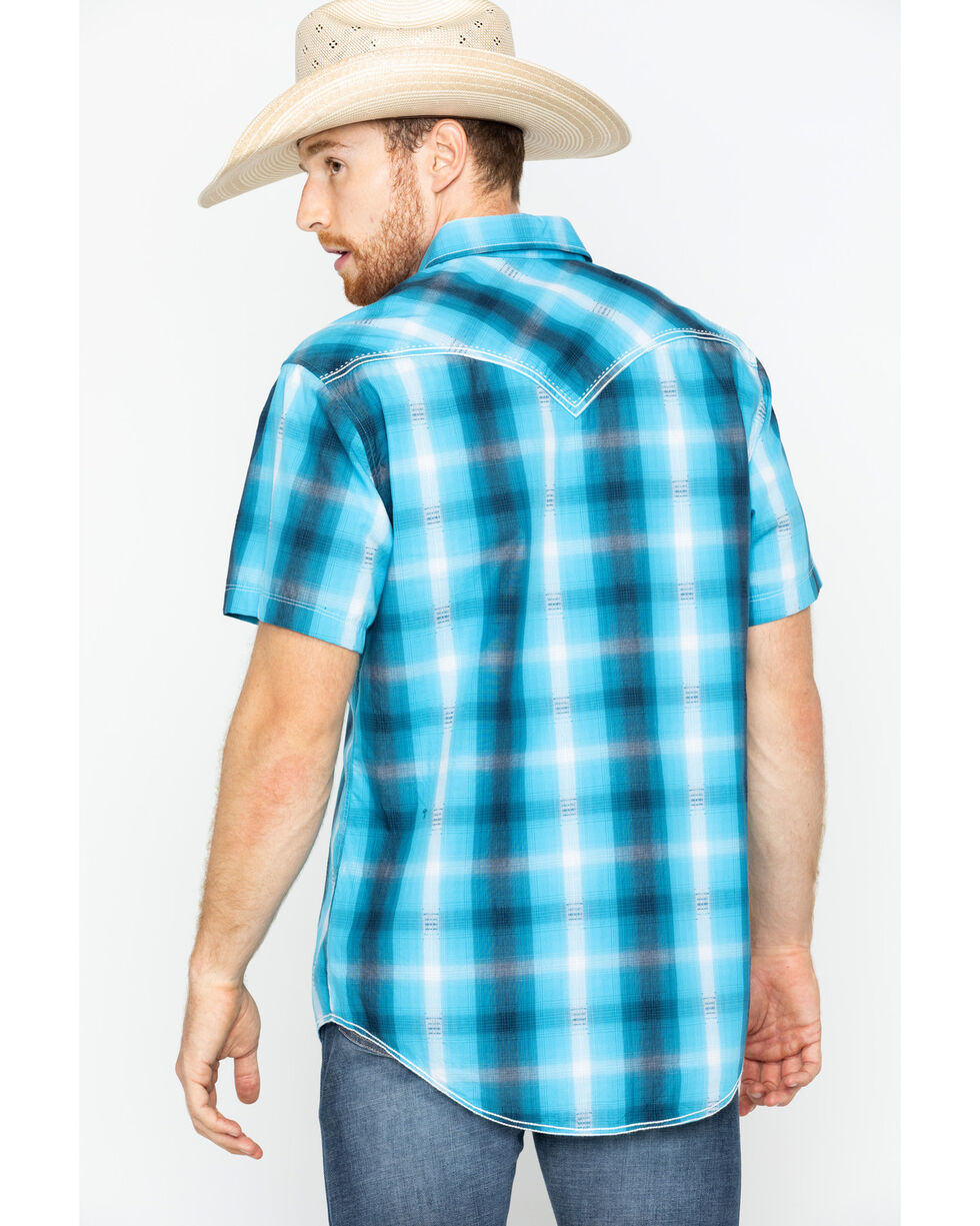 Rock & Roll Cowboy Men's Satin Dobby Plaid Short Sleeve Shirt, Turquoise, hi-res