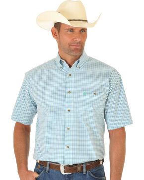 Wrangler George Strait White, Green and Blue Plaid Short Sleeve Shirt, Multi, hi-res