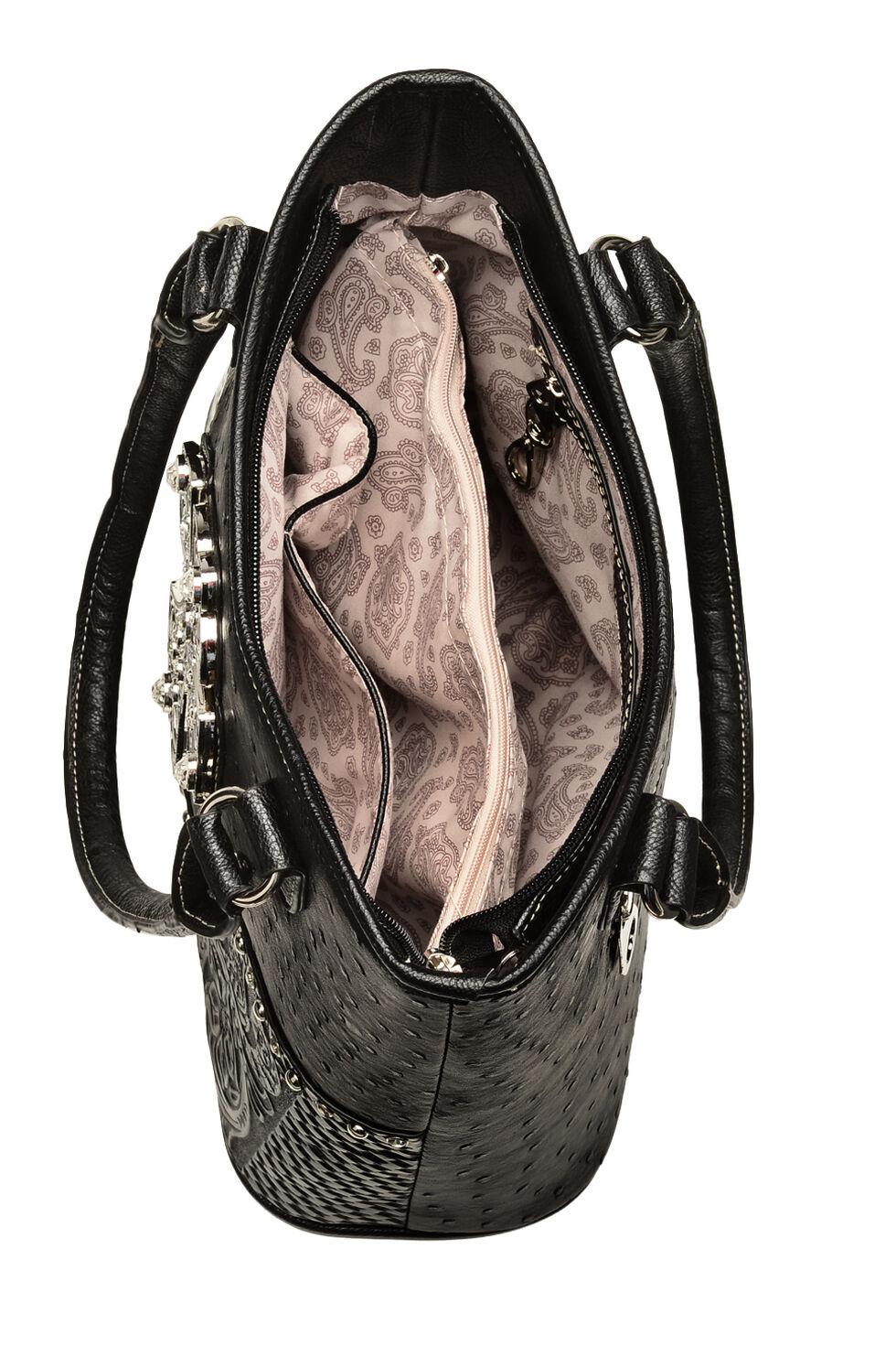 Blazin Roxx Faux Ostrich Shoulder Handbag, Black, hi-res