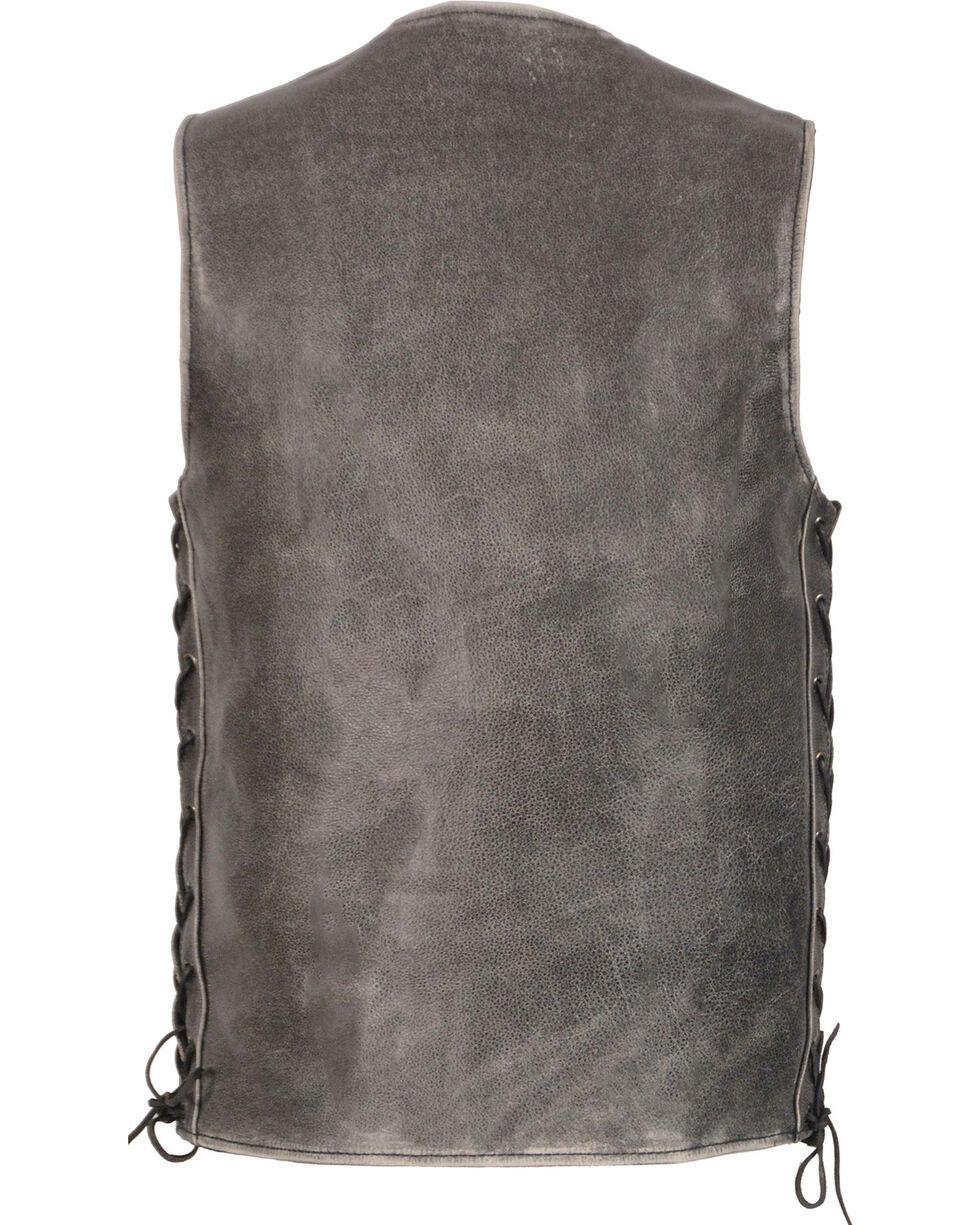Milwaukee Leather Men's Grey Side Lace Vest - Big 4X , Grey, hi-res
