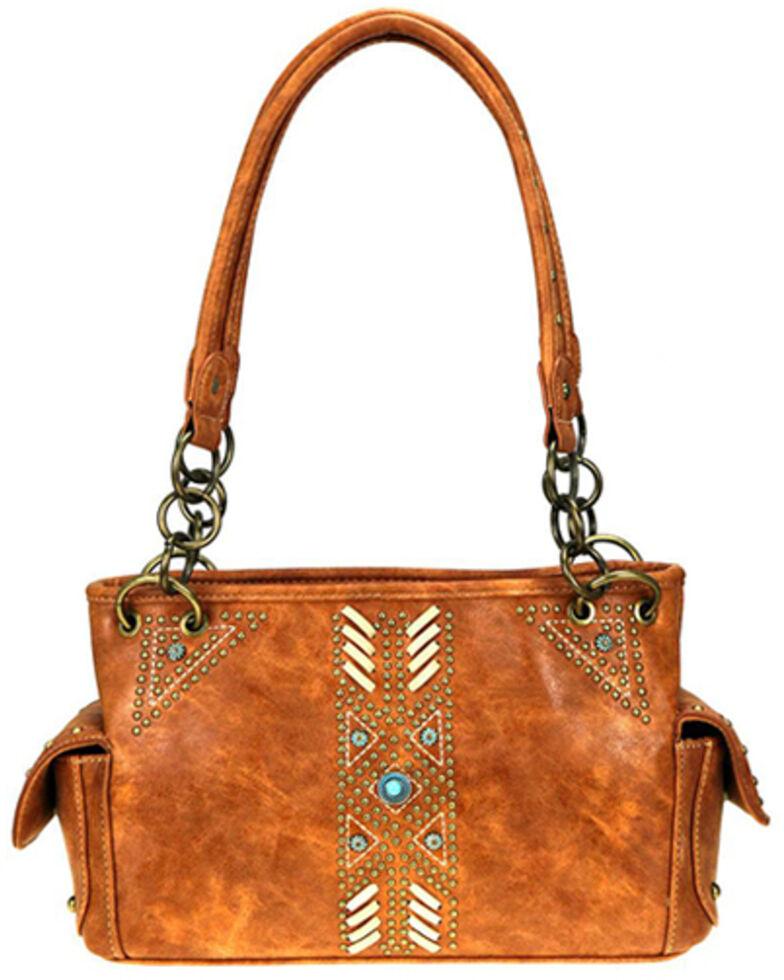 Montana West Women's Aztec Satchel Bag, Brown, hi-res