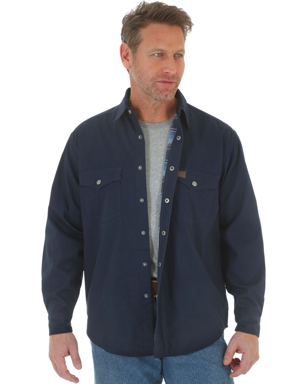 Wrangler Men's Navy Riggs Workwear Flannel Lined Ripstop Shirt , Navy, hi-res