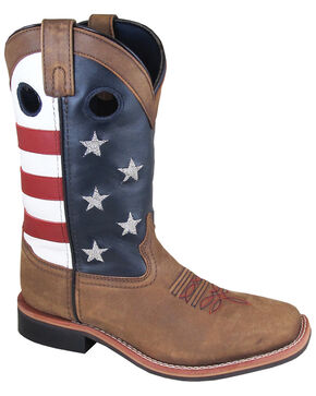 "Smoky Mountain Women's 10"" Stars and Stripes Western Boots - Square Toe, Distressed Brown, hi-res"