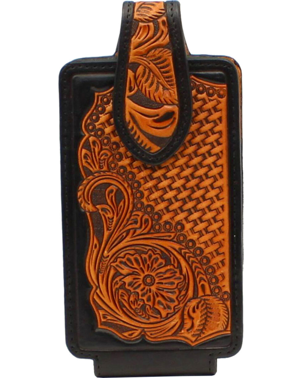 Nocona Tooled Leather Cell Phone Holder , Tan, hi-res
