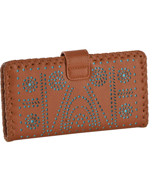 Shyanne Women's Turquoise Inlay Lasercut Wallet, Brown, hi-res