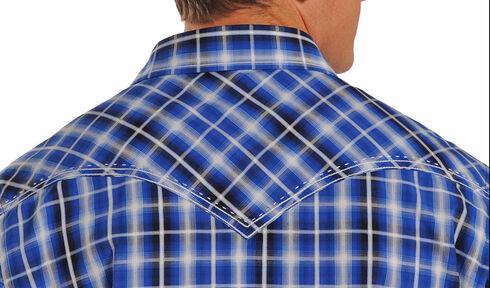 Rock & Roll Cowboy Men's Blue Plaid Western Shirt, Blue, hi-res
