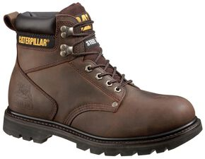 "Caterpillar 6"" Second Shift Lace-Up Work Boots - Round Toe, Dark Brown, hi-res"