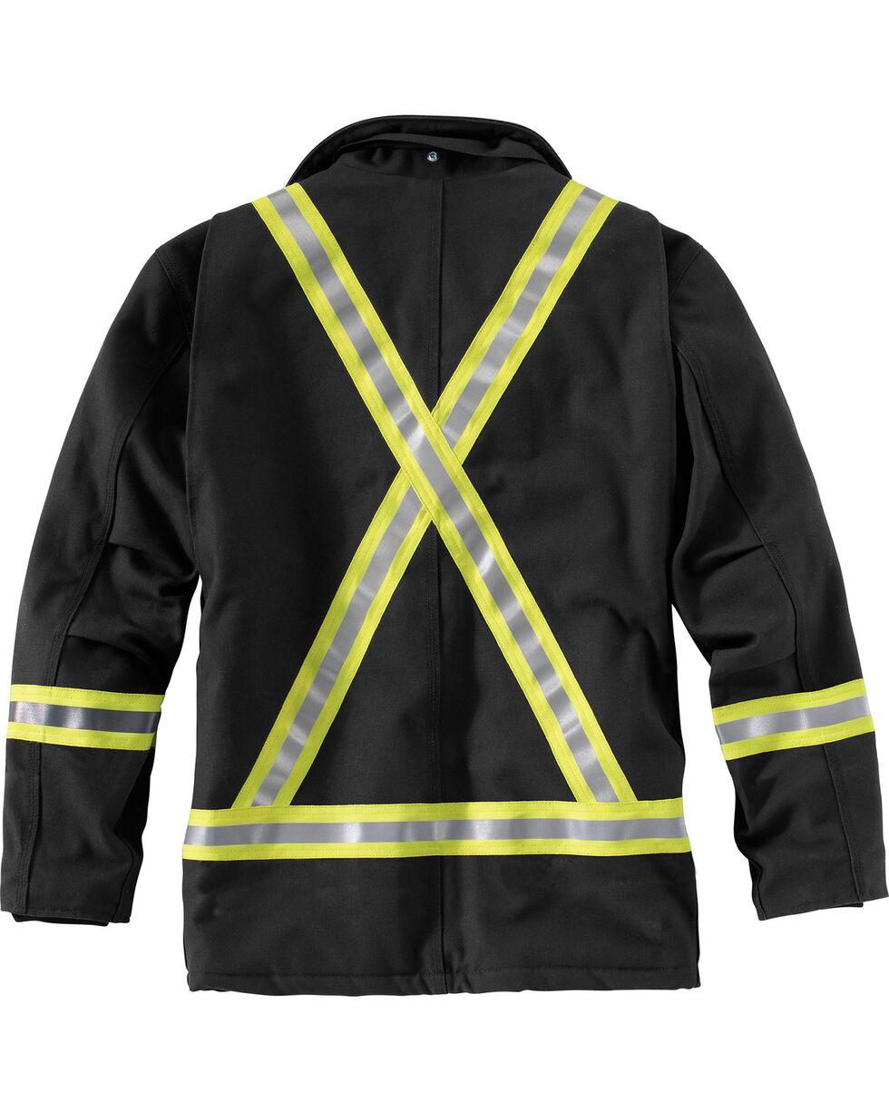Carhartt Men's Flame-Resistant Striped Duck Traditional Coat , Black, hi-res