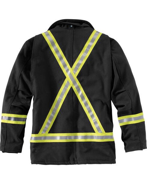 Carhartt Men's Flame-Resistant Striped Duck Traditional Coat - Big & Tall , Black, hi-res
