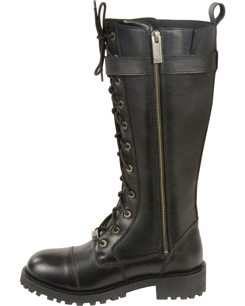 """Milwaukee Leather Women's 14"""" Lace To Toe High Rise Leather Boots - Round Toe, Black, hi-res"""