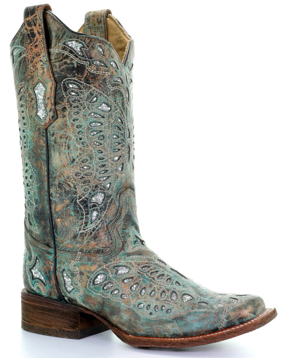 Corral Women's Metallic Bronze Glitter Butterfly Cowgirl Boots - Square Toe, , hi-res