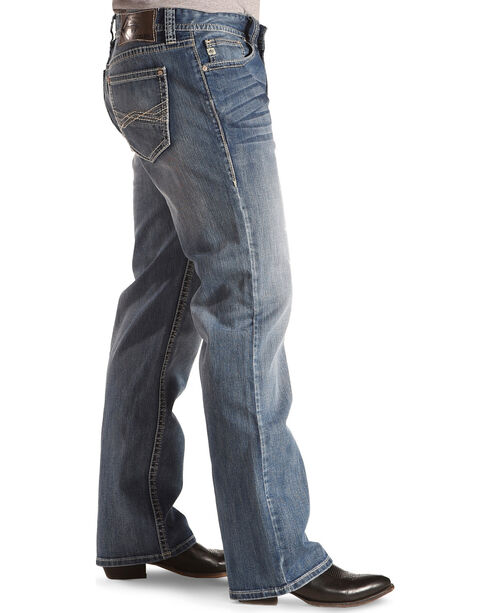 Rock & Roll Cowboy Men's ReFlex Double Barrel Abstract Embroidered Jeans - Straight, Indigo, hi-res