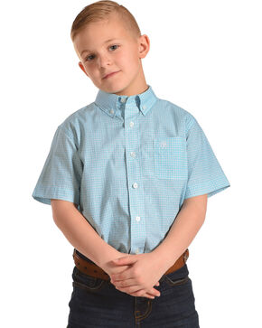 Ariat Boys' Casual Series Newman Print Short Sleeve Button Down Shirt , Turquoise, hi-res