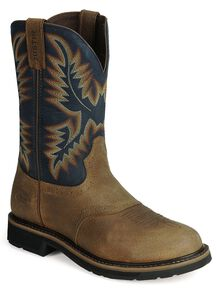 Justin Men's Stampede Superintendent Blue Work Boots - Steel Toe, Copper, hi-res